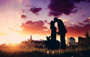 couple-with-dogs-silhoette--1438806-m
